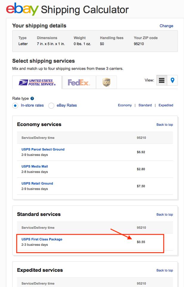 ebay shipping calc